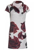 Quiz Grey Rose Print Light Knit Tunic Dress