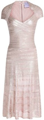 Herve Leger Pleated Metallic Bandage Dress