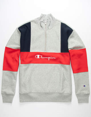 Champion Quarter Zip Color Block Mens Sweatshirt