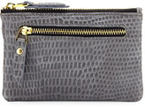 Neiman Marcus Exotic Embossed Faux-Leather Coin Purse, Gray Iguana