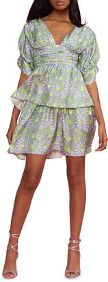 Cynthia Rowley Frieda Printed Puff-Sleeve Tiered Mini Dress