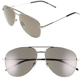 Saint Laurent Women's 'Classic' 59Mm Aviator Sunglasses - Silver Smoke