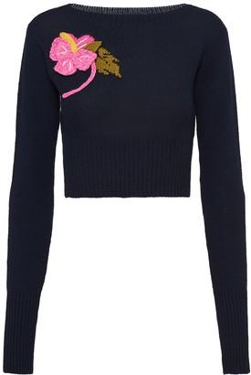 Prada Crochet-Flower Cropped Jumper