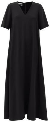 Co V-neck Flared Crepe Maxi Dress - Black