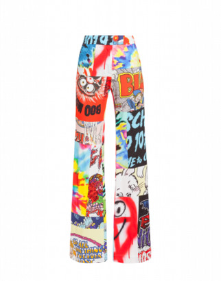 Moschino Patchwork Print Jersey Trousers Woman Multicoloured Size 38 It - (4 Us)