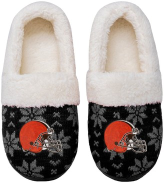 Women's Cleveland Browns Ugly Knit Moccasin Slippers