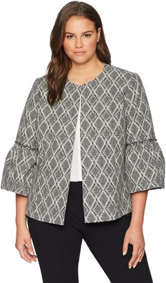 Kasper Women's Plus Fly Away Abstract Diamond Print JKT with Flounce SLVE