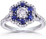Kobelli Jewelry Kobelli 1 1/3 CT TW Round-Cut Diamond and Blue Sapphire 14K Gold Engagement Ring