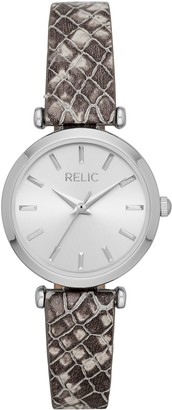Relic By Fossil Women's Brianna Gray Leather Strap Watch - ZR34580