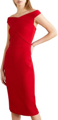 Roland Mouret Amarula Off-the-shoulder Wool-crepe Midi Dress
