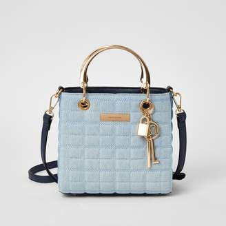 River Island Womens Blue denim quilted cross body tote bag