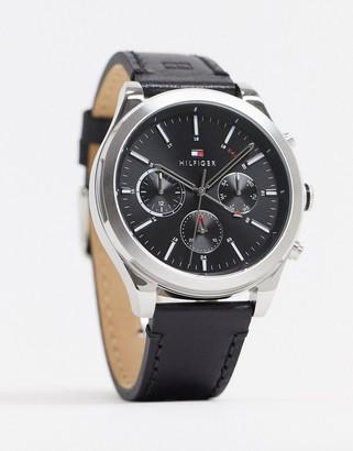 Tommy Hilfiger sunray black leather watch 1791740