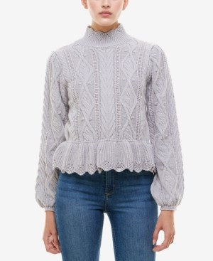 Q & A Peplum-Hem Cable-Knit Sweater