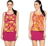 Denim & Co. Beach Floral & Ikat Three PieceTankini