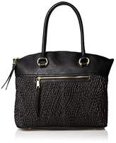 London Fog Women's Felicity Large Dome Tote, Black Quilted