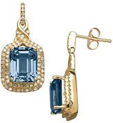 Lord & Taylor 14K Yellow Gold Blue Topaz and Diamond Earrings