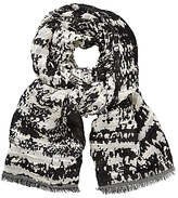 John Lewis Zig Zag Burnout Abstract Print Scarf, Navy/Off White