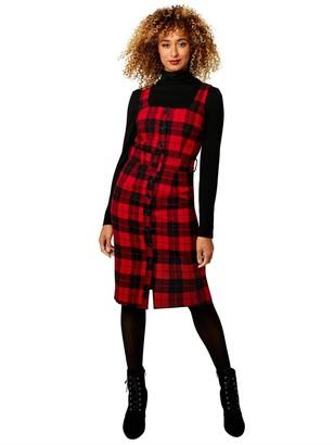 Joe Browns Check Pinafore Dress - Red/Black