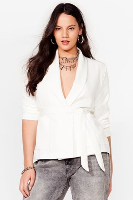 Nasty Gal Womens Play It Smart Plus Belted Blazer - Ivory