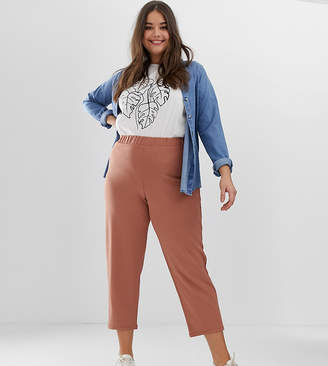 Asos DESIGN Curve pull on tapered pants in jersey crepe