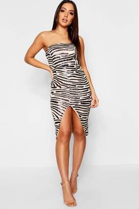 boohoo Bandeau Sequin & Mesh Midi Dress