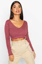 boohoo Petite Lettuce Hem V-Neck Long Sleeve Crop Top