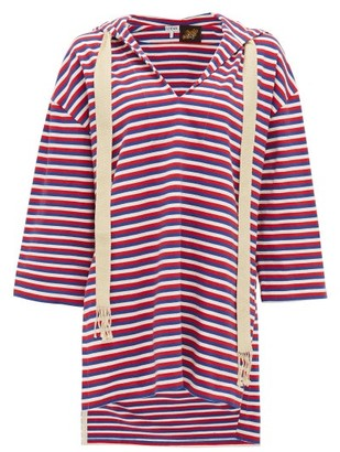 Loewe Paula's Ibiza - Hooded Striped Cotton-jersey Tunic - Red Multi