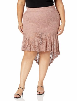 Forever 21 Women's Plus Size Floral Lace High-Low Skirt