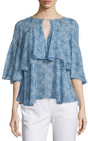 Rebecca Taylor Shibori Printed Silk Ruffle Blouse, Violet/Teal