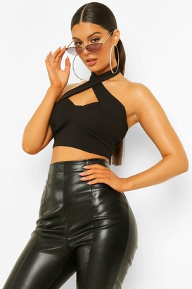 boohoo Crepe Cut Out Halter Neck one piece