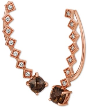 LeVian Le Vian Chocolate Quartz (9/10 ct. t.w.) & Nude Diamonds (1/5 ct. t.w.) Ear Climber Earrings in 14k Rose Gold
