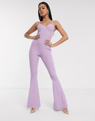 Asos Design DESIGN cami jumpsuit with cupped bra in jersey rib