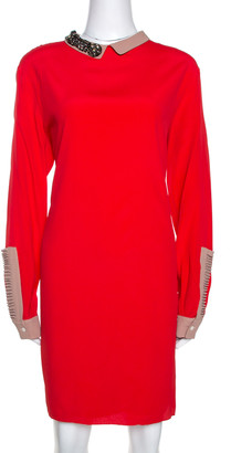 N°21 N21 Red Crepe Embellished Collar Detail Shift Dress M