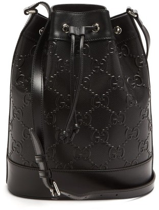 Gucci GG-monogram Perforated-leather Cross-body Bag - Black