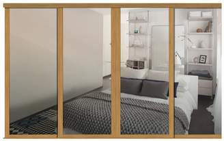 URBAN RESEARCH Spacepro Shaker Sliding and track W2898 Oak Frame Mirror