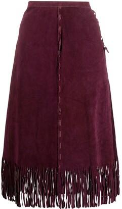 A.N.G.E.L.O. Vintage Cult 1980s A-line fringe suede skirt