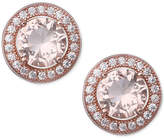 Giani Bernini Pavé & Peach Color Cubic Zirconia Stud Earrings in 18k Rose Gold-Plated Sterling Silver, Created for Macy's