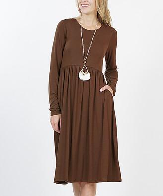 Lydiane Women's Casual Dresses BROWN - Brown Long-Sleeve Empire-Waist Dress - Women