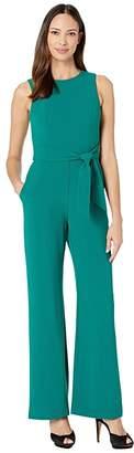 Vince Camuto Kors Crepe Tie Waist Jumpsuit (Dark Green) Women's Jumpsuit & Rompers One Piece