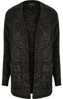 River Island MensGrey textured knit open cardigan