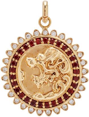 Storrow 14k Gold and Gemstone Victorian Lion Medallion