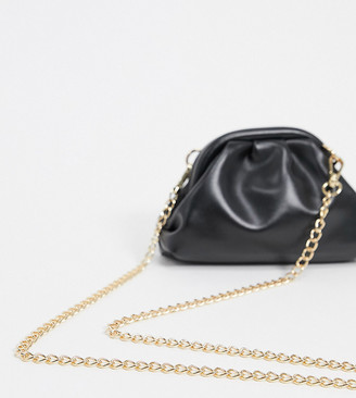 Glamorous Exclusive mini pillow clutch bag in black with detachable strap