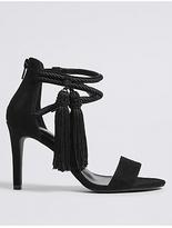 M&S Collection Stiletto Heel Back Zip Tassel Sandals