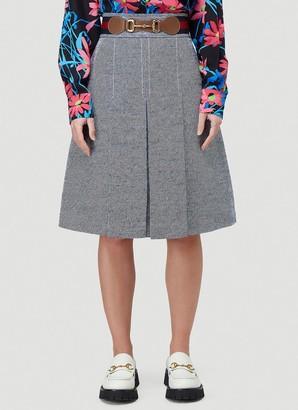 Gucci Horsebit Pleated Boucle Skirt