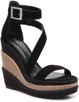 Charles by Charles David Women's Thunder Wedge Sandal -Black Faux Suede