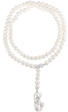 """Macy's Freshwater Cultured Pearl (9-15mm) Lariat Abstract 36"""" Strand Necklace Sterling Silver Clasp"""