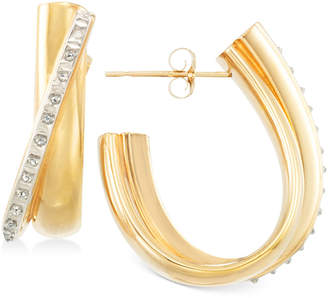 Signature Diamonds Diagonal J-Hoop Earrings in 14k Gold over Resin Core Diamond and Crystallized Diamond Dust