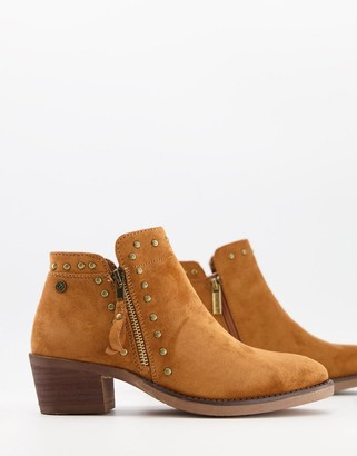 Xti side zip heeled ankle boots in tan