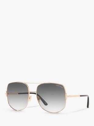 Tom Ford FT0783 Women's Lennox Aviator Sunglasses, Rose Gold/Grey Gradient