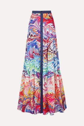 Mary Katrantzou Tiered Printed Twill Maxi Skirt - Purple